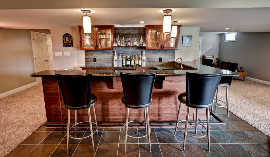 Basement bar high black chairs