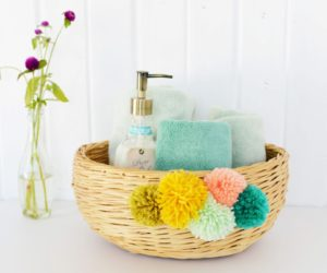 DIY Yarn Pom Pom Basket