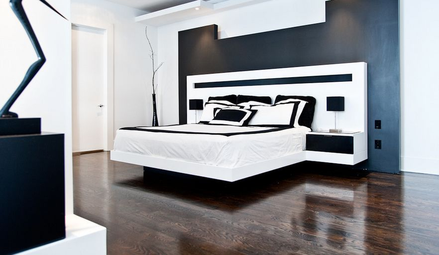 Black and white bedroom floating bed