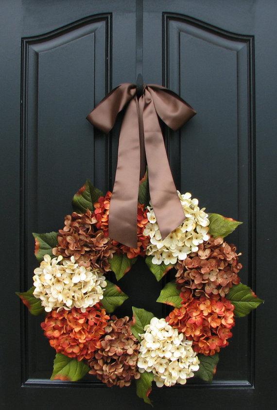 Black front door Fall wreath