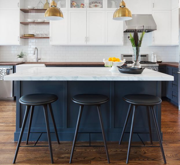 Blue Cobalt Kitchen Island With Black Chairs