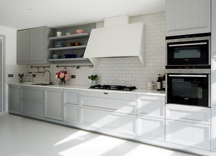 Built in appliances and white subway tiles