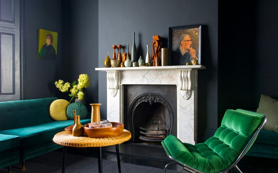 Charcoal Living room Color