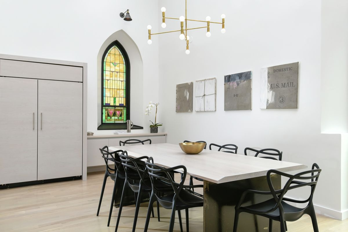 Chicago church converted into family home dining table