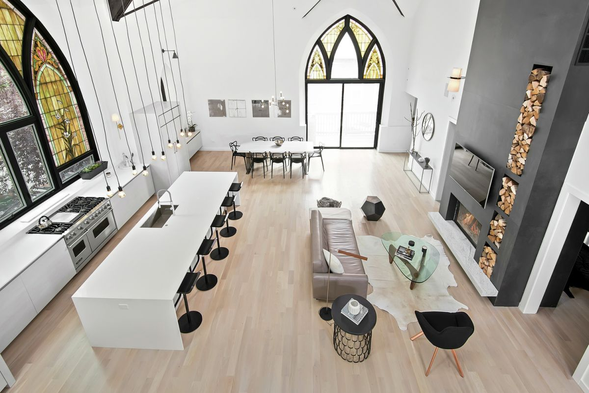 Chicago church converted into family home great room high ceiling