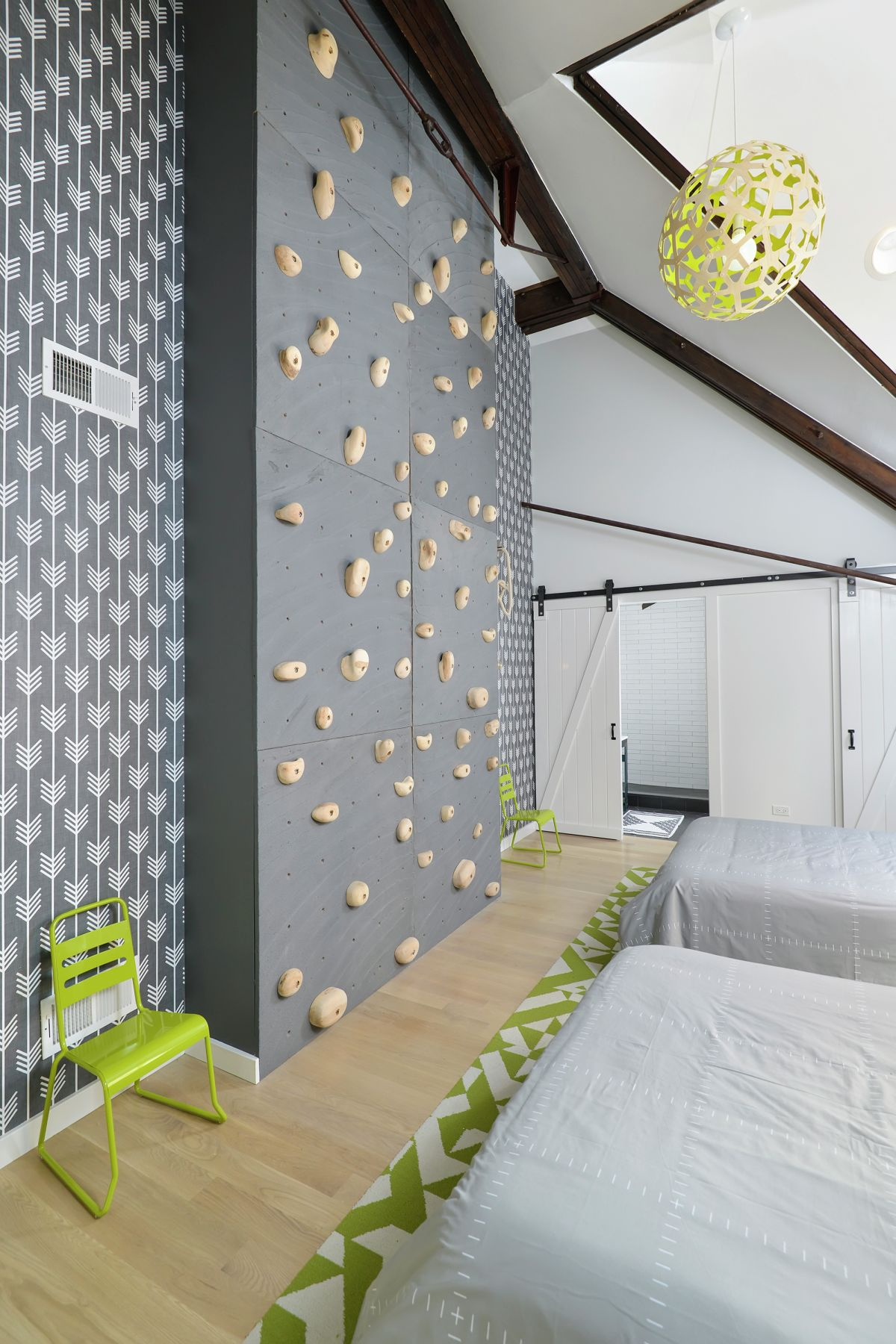 Chicago church home featuring a climbing wall in bedroom