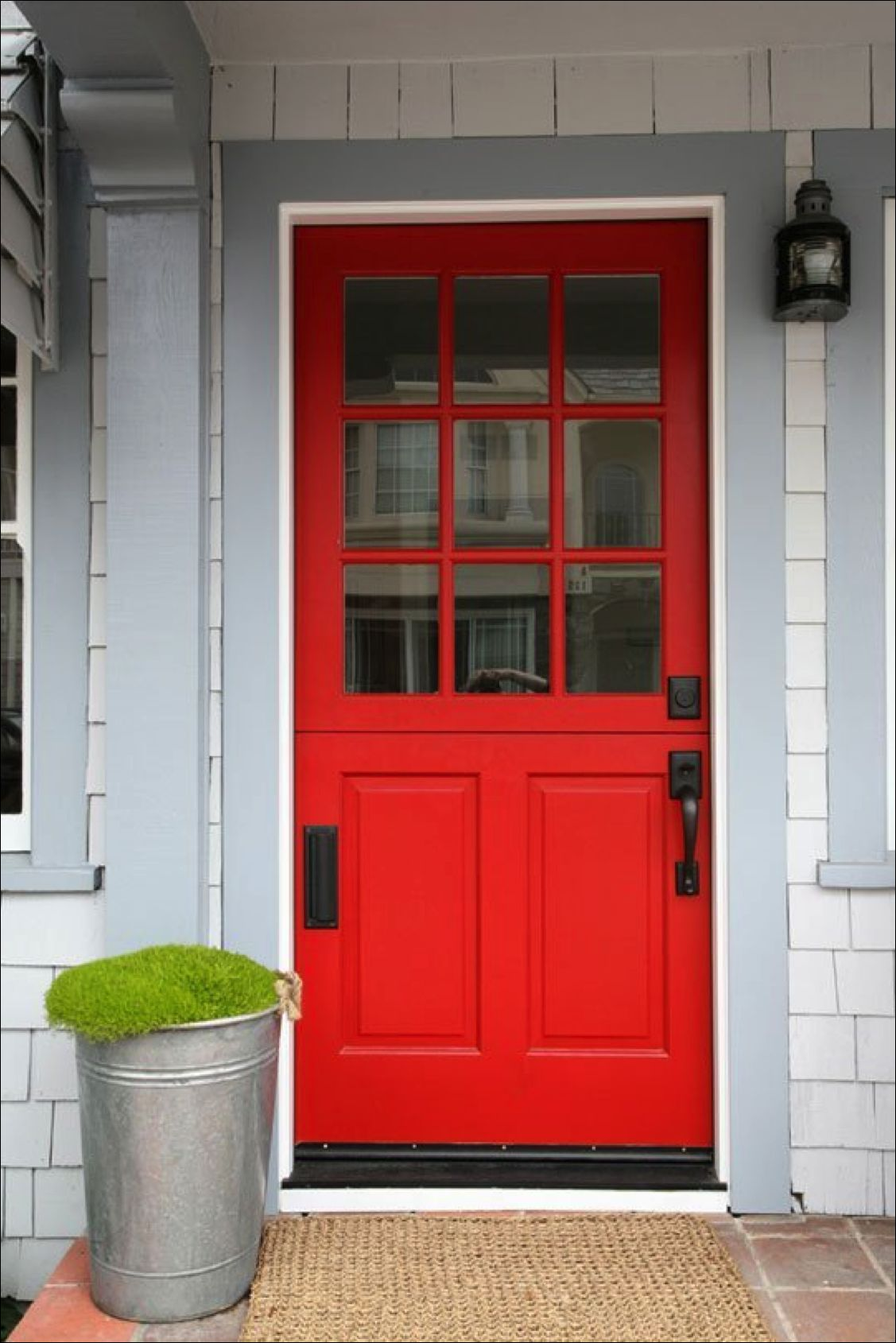 Classic red front door