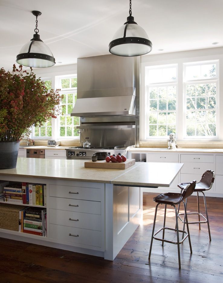 Modern and clean, yet with a farmhouse feel, the kitchen is the perfect family gathering spot.