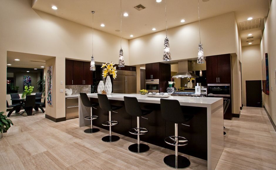 Contemporary Open Space Kitchen Wtih Black Counter Stools