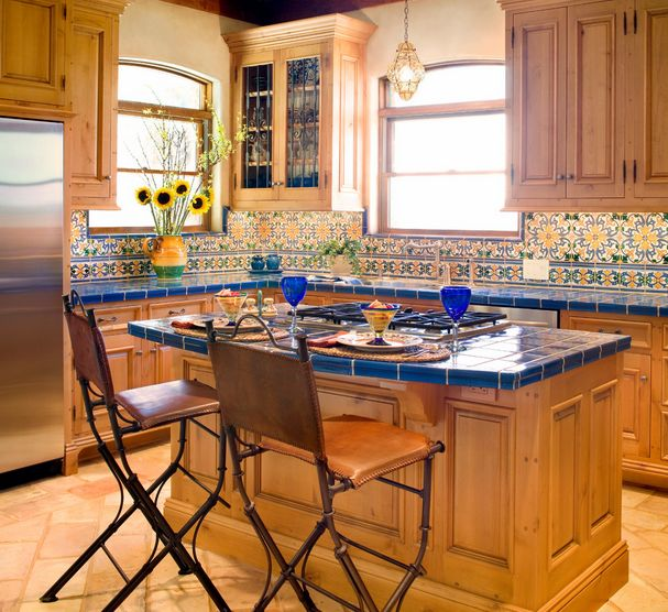 Tile Countertop Ideas Kitchen Part - 23: Cool Blue Kitchen Tiles