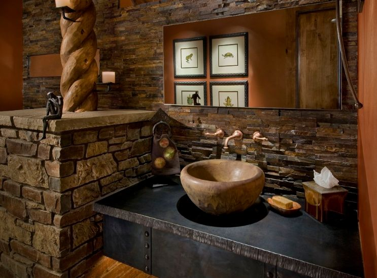 Cool way to use stone for bathroom