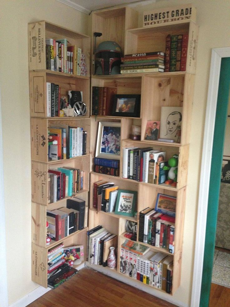 Corner wine crates bookcase