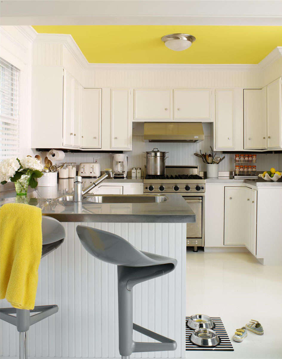 Crisp white kitchen floor