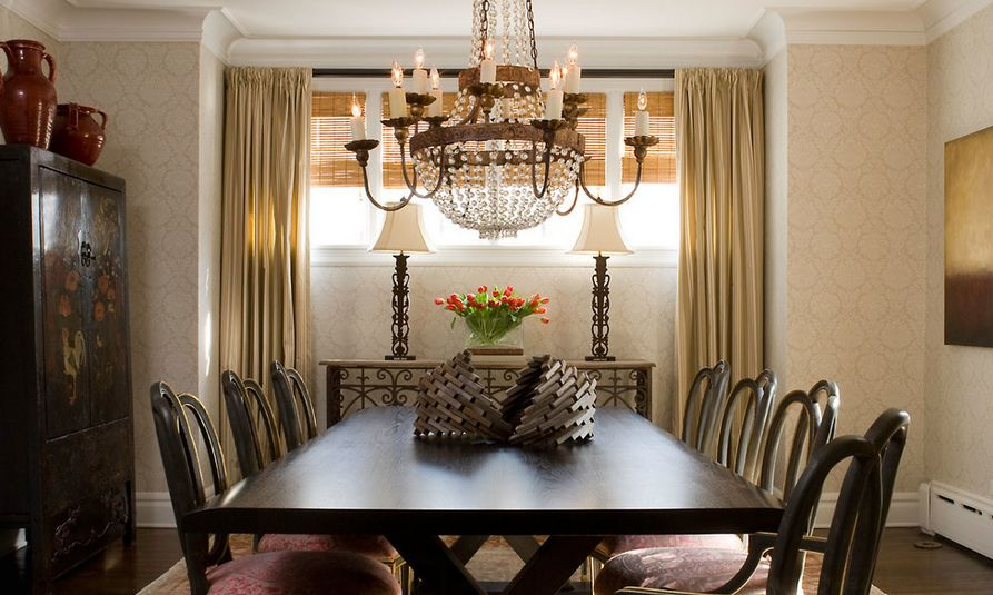 Crystal beaded chandelier over dining table