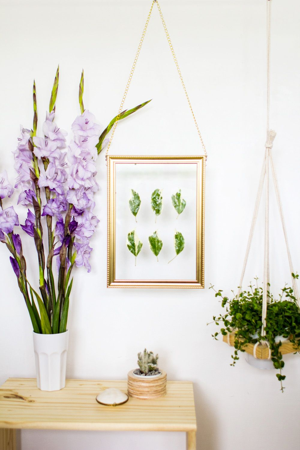 DIY Hanging Gold Frame Leaf Art Finished