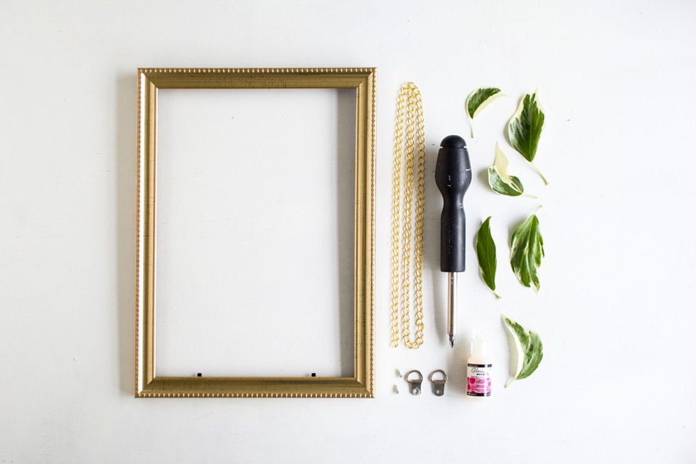 DIY Hanging Gold Frame Leaf Art Materials