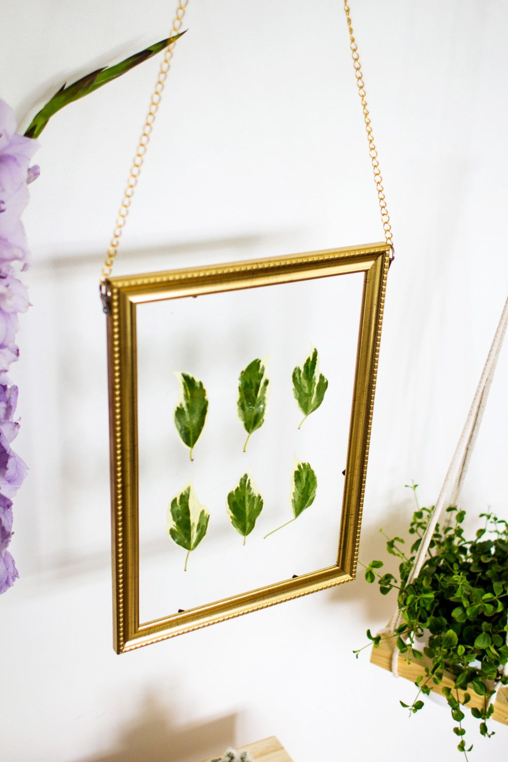 DIY Hanging Gold Frame Leaf Art Up