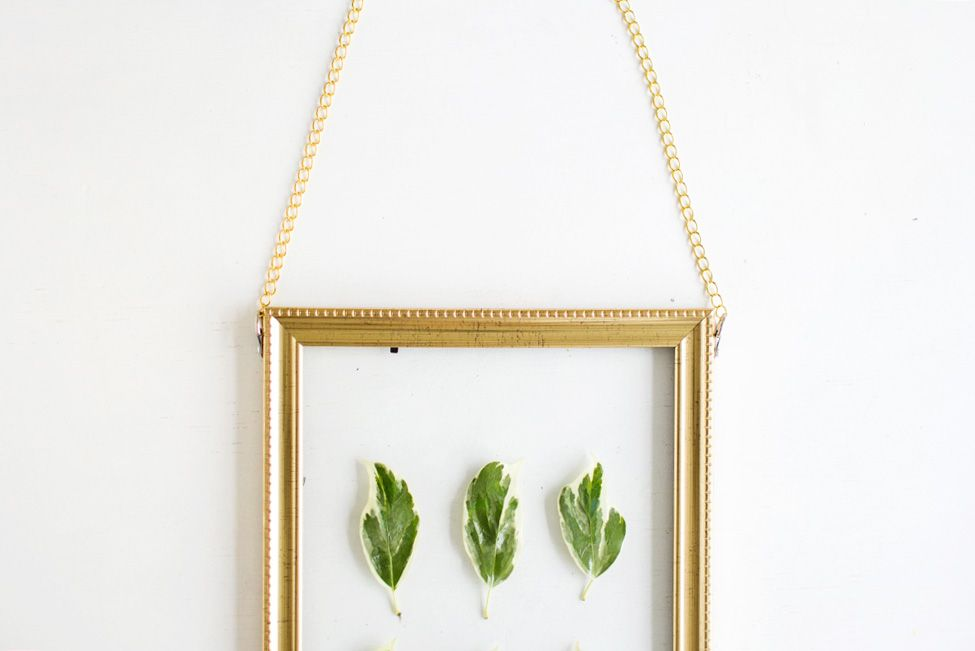 DIY Hanging Gold Frame Leaf Art View