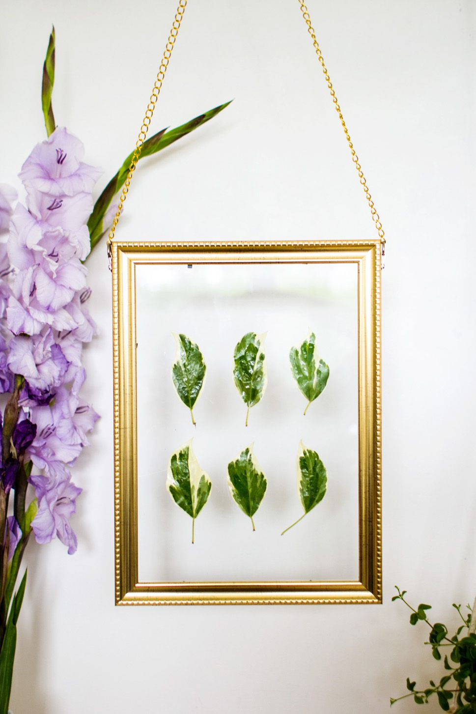 DIY Hanging Gold Frame Leaf Art wall