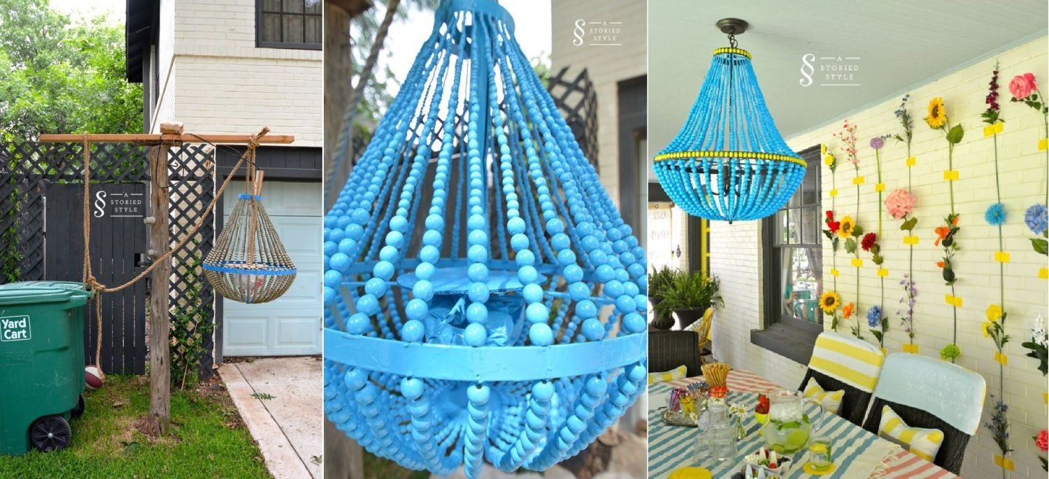 DIY makeover beaded Chandelier