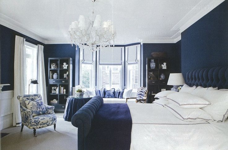 Deep dark blue bedroom