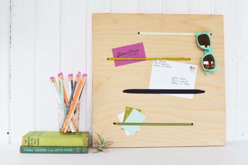 DIY Plywood and Elastic Memo Board