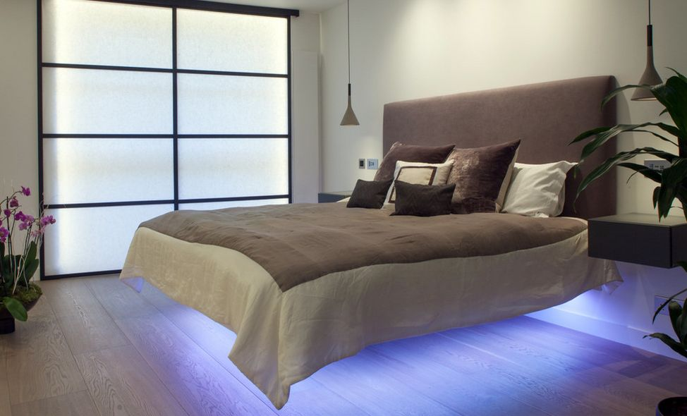 Floating bed with LED light under