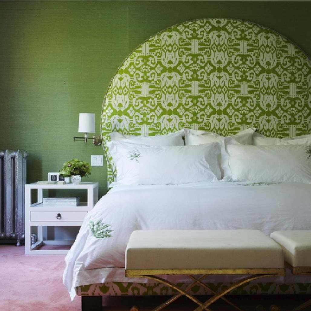 Fresh green monochromatic bedroom