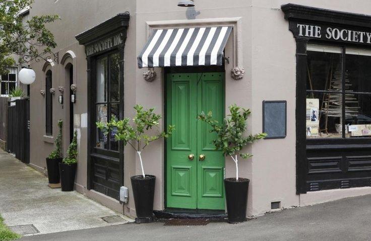 Green corner front door