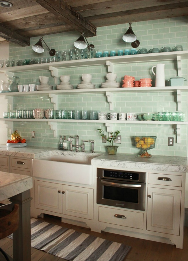 Green glass subway tile