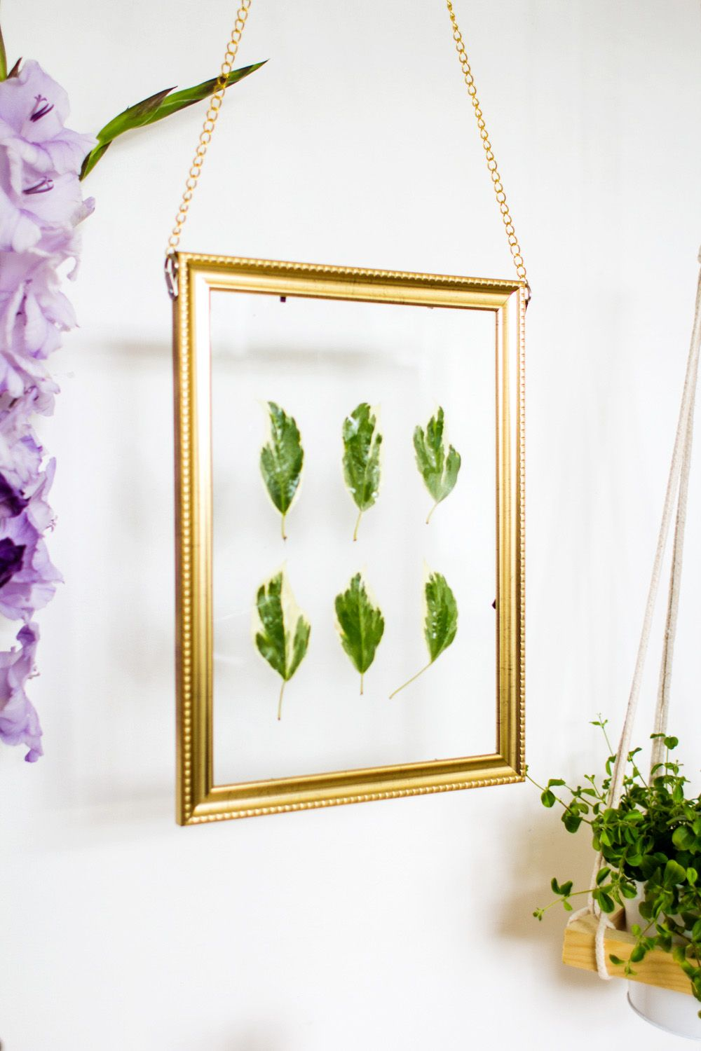 Hanging Gold Frame Leaf Art Angle View