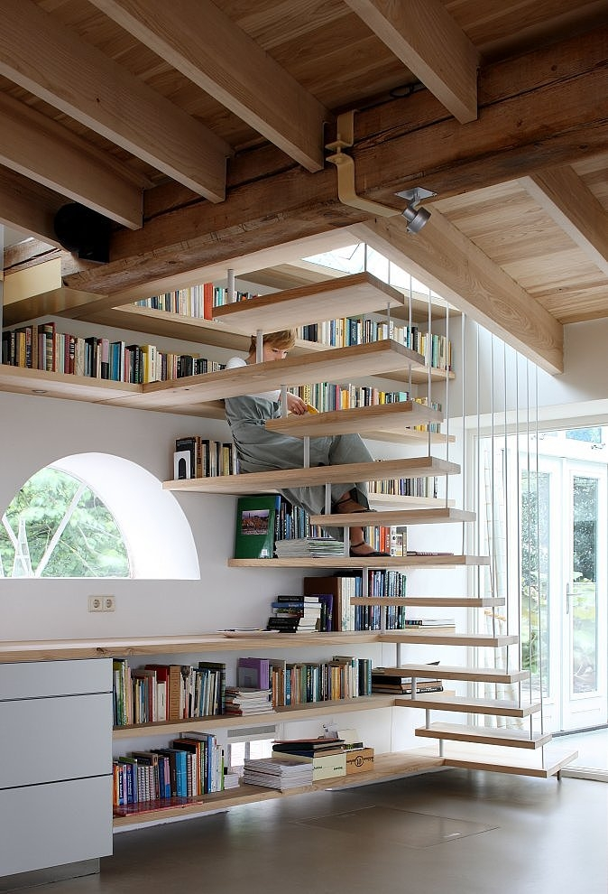 House maxwan architects staircase home library angle