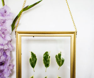 DIY Hanging Gold Frame Leaf Art