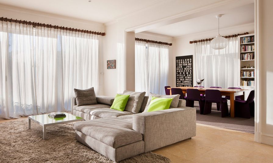 Living room pops of color through pillows