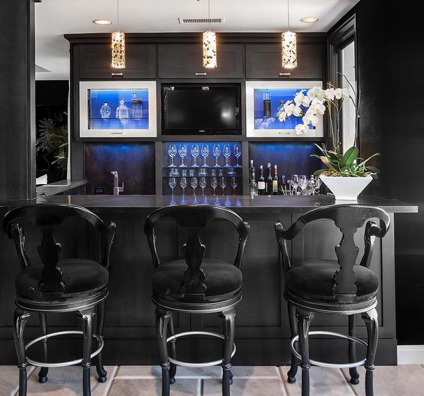 Luxury black basement bar design