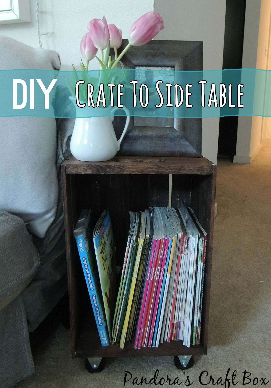 Make a side table from wine crates