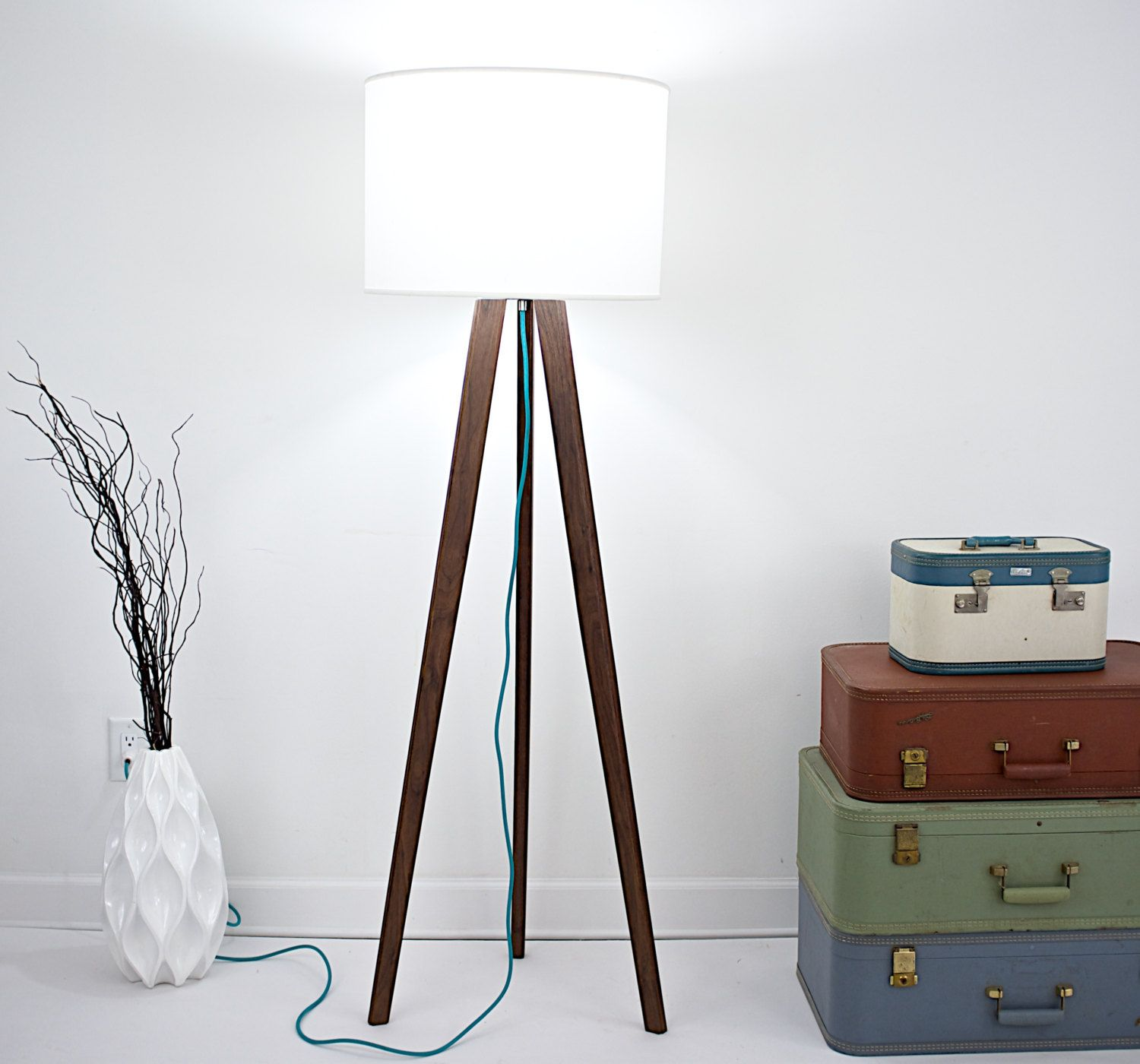 Tripod floor lamp in living room - Mid Century Inspired Tripod Floor Lamp