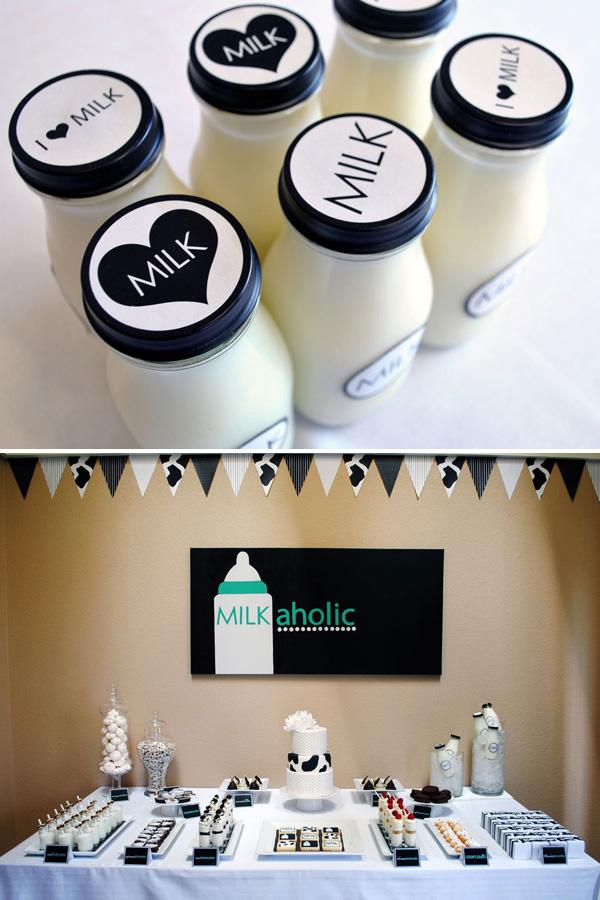 Aloholisches Babyduschethema der Milch