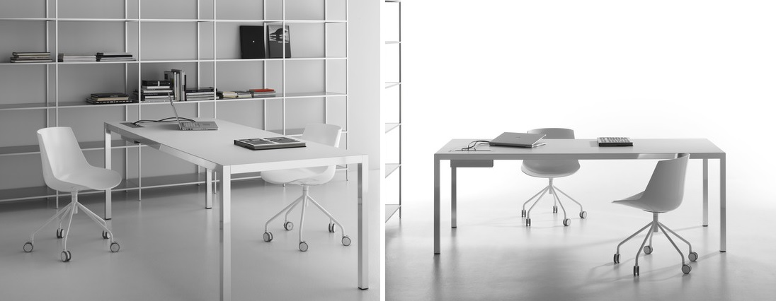 Minimalistisches Schreibtischsystem mit Kabelorganisation
