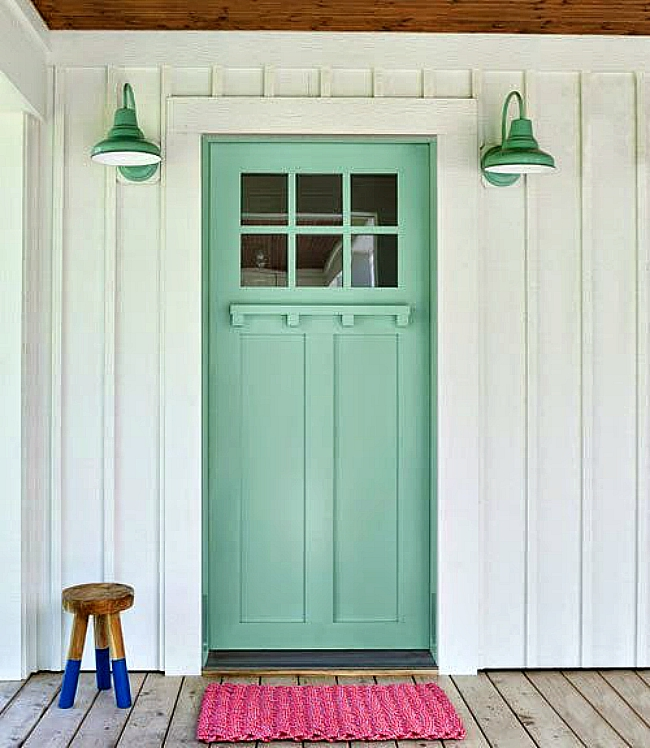 Mint color front door