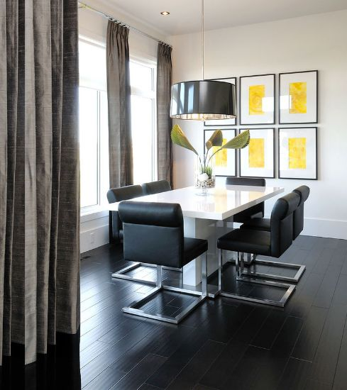 Modern Dining Room With Black Floor