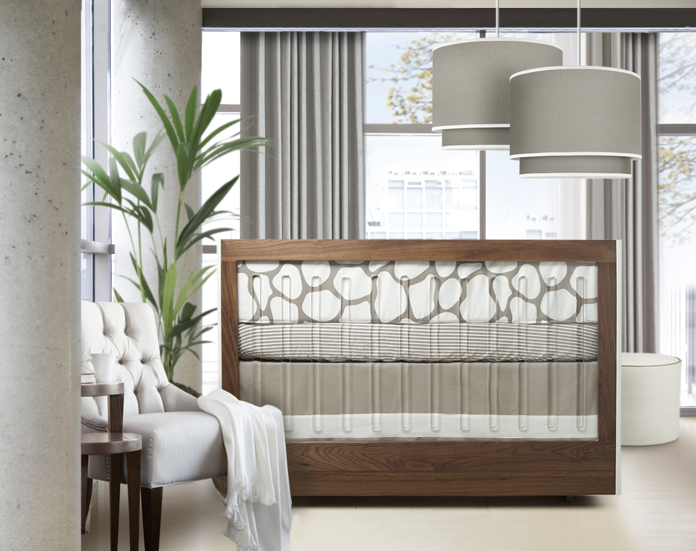 Modern Nursery Featuring a Taupe Color