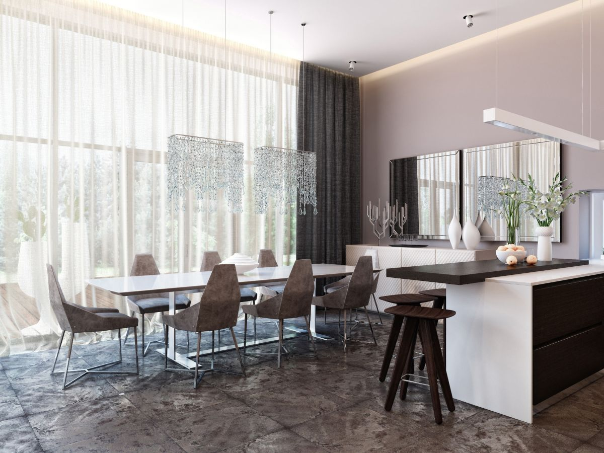 Modern and neutral dining room with a unique floor