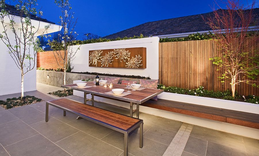 Modern outdoor seating area