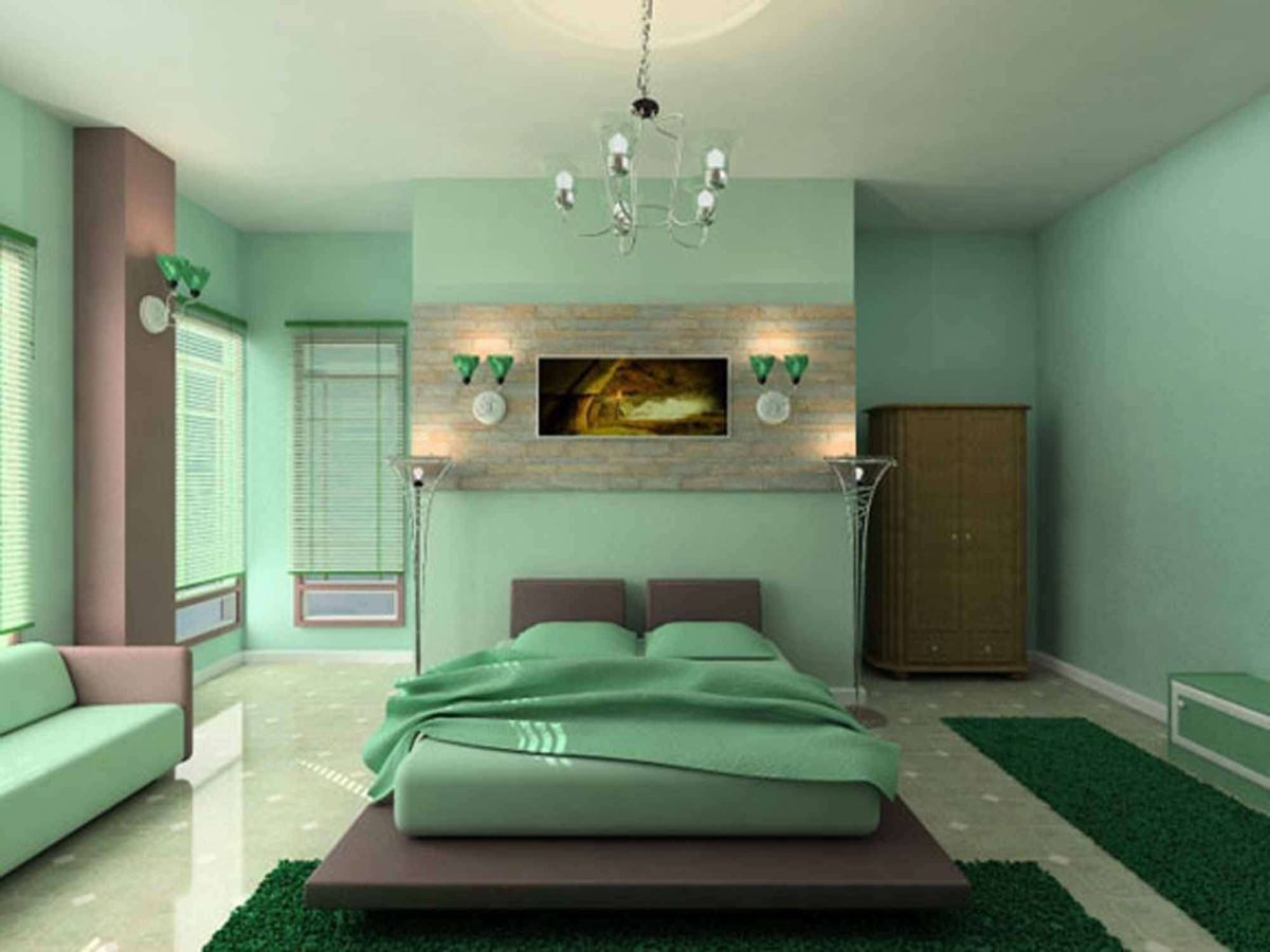 Monochromatic green bedroom