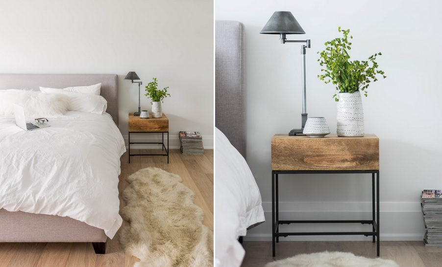 Monochromatically Neutral With A Rustic Night Stand