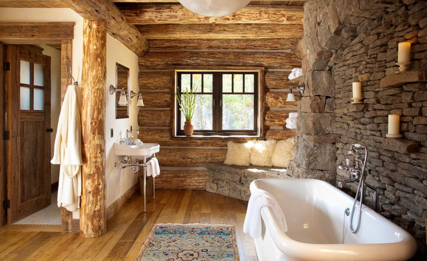 Perfect combo for a rustic bathroom wood and stone