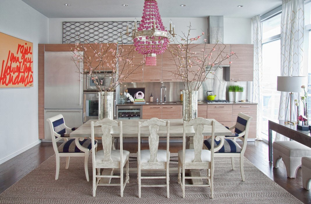Pink chandelier open space kitchen