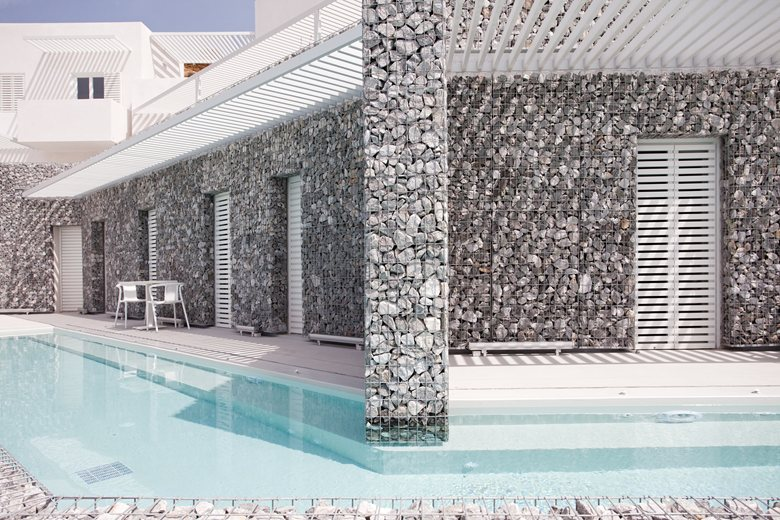 Relux Ios Island Hotel gabion walls by the pool