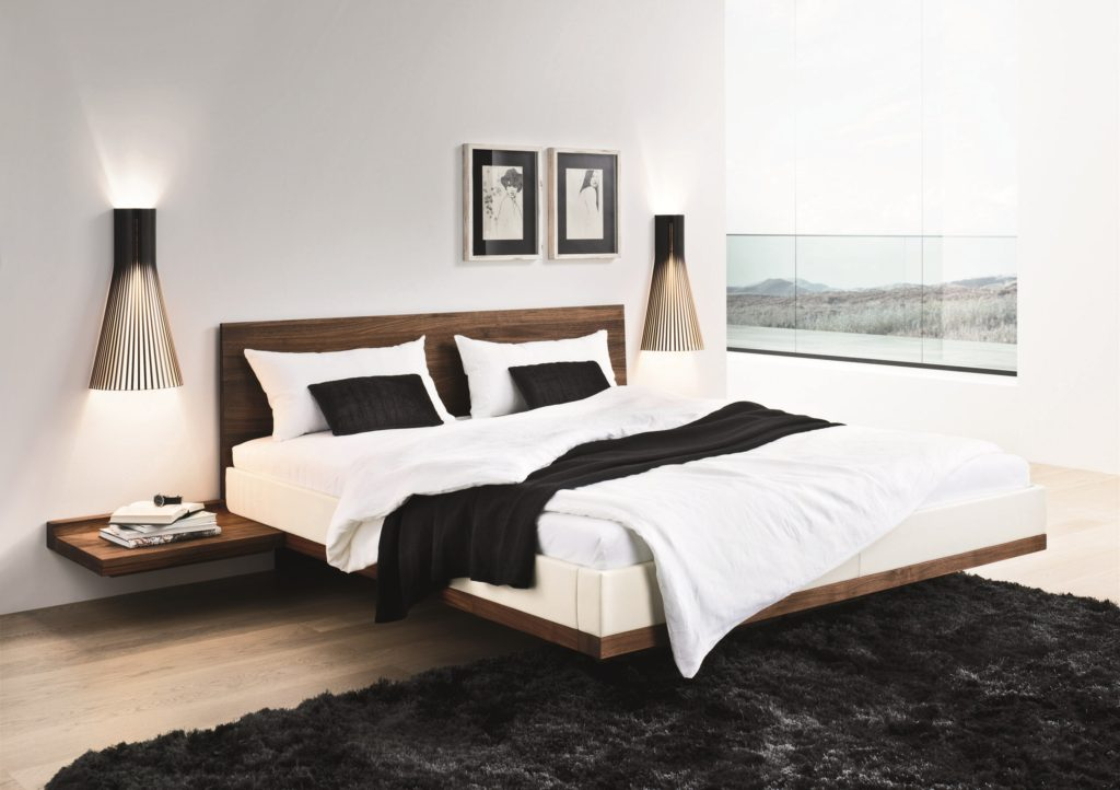 Riletto solid wood platform floating bed